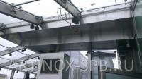 Потолочный вентиляционный короб обшитый нержавеющей шлифованной сталью. Фото 1