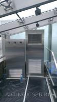 Кондиционер колонного типа и увлажнитель воздуха обшитые нержавеющей шлифованной сталью