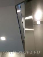 Облицовка  и торцов лестниц  шлиф., нерж., сталью. Банк России. пл., Растрелли, д.2, лит. А (3)